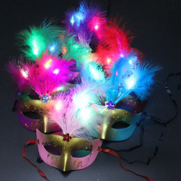 Wholesale Feathered Masquerade Masks - Cute Lovely Mini LED Feather Mask Sexy Halloween Decoration Venetian Masquerade Party Flower Beads Princess Lady Women Girl Kid Gift Favors