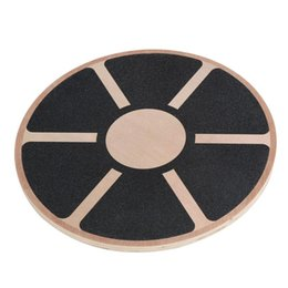 Wholesale Wood Discs - Wholesale-40cm Wood Yoga wobble balance board thicken Stability Disc Waist Wriggling Round plate Sports athletic training#