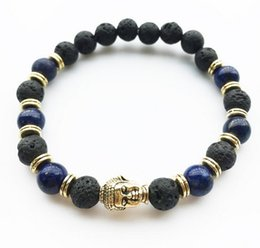 Wholesale Lucky Charm Stone Bracelets - 3 Colors Buddha Head Lucky Charm Bracelets Volcano Stone Mini Beads For Men Bracelets Jewelry Women Fashion Accessories