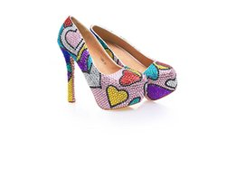 Wholesale Sweet Pumps - Patchwork Women High Heels with Sweet Heart Shape Crystals Cinderella Shoes Bridal Bridesmaid Shoes Prom Evening Night Club Super High Heels