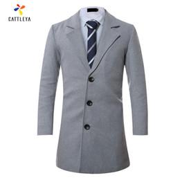 Wholesale Single Button Pea Coat - Wholesale- 8 Colors Brand New 2017 Spring Wool Coat Slim Fit Jackets Fashion Outerwear Man Casual Jacket Overcoat Pea Coat Plus Size 3XL 4L