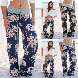 Wholesale Legging High Waist Blue - Summer Lady Bohemian Floral Pants High Waist Wide Leg Trousers Loose Pants Gray Black Blue Plus Size S-XXXL
