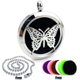 Wholesale Butterfly Locket Pendant - New Arrival Round Butterfly Desgin (30mm) Essential Oils Diffuser Locket Aromatherapy Locket Free Pads Diffuser Locket