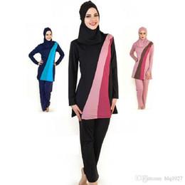 Wholesale Modest Swim Suits - Wholesale Full Cover Up Modest Muslim Swimwear for Women Girls Conservative Long Sleeve Islamic Swimsuit New Beach Female Swim Wear
