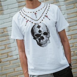 Wholesale Skull Necklace Men - 2017 summer Necklace skull print cool t shirts for men and women short sleeve cotton couple clothing mens tees loose casual T-shirts