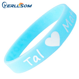 Wholesale Customized Charms - 600PCS Lot Customized Screen printing 1 color Personalized Centense Rubber Wristbands For Events Y061506