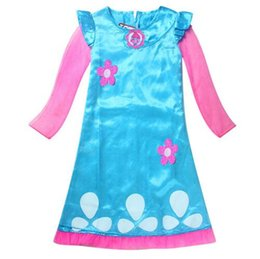 Wholesale Princess Dresses Age 12 - Age 4-12 Years New Cartoon Trolls girls dress with long sleeves clothing Girls dresses for party and wedding Kids dress princess