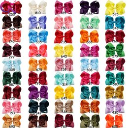 Wholesale Big Barrette Hair Clip - 8 inch 60 Color Girls Big Knot Bow Hairdbands Children Pom Pom Hair Bow With Alligator Clips Fabric Ribbon Princess Hair Accessory
