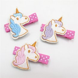 Wholesale Clipping Horses - 15pc lot Glitter Leather Unicorn Hair Clip White Felt Animal Toddler Hairpin Cartoon Birthday Party Funny Horse Mini Barrette
