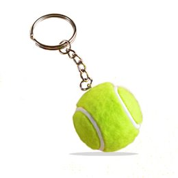 Wholesale Mini Tennis Keychain - Real Fur Mini Tennis Ball Keychain PU Hair Plush 3D Sport Ball Keyring 4cm Diameter Tennis Ball Keychain