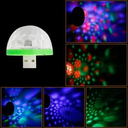 Wholesale Star Night Lamps - 3w DC 5V Mini RGB USB LED night light stage   microphone   led lamp Christmas Light Projector party decor LED Bulb
