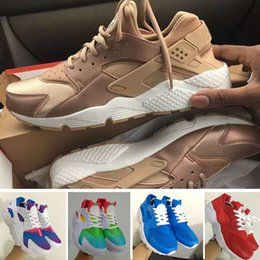 Wholesale Inkjet Pvc - 2017 New Air Huarache Sky Blue Rainbow Red White Inkjet Running Shoes For Men & Women, Lightweight Huaraches Athletic Sport Trainers 36-46