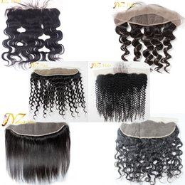 Wholesale Body Hair Bleaching - JYZ Lace Frontal Closure Bleached Knots With Baby Hair Can Be Dyed Frontal Ear to Ear Body Loose Deep Wave Straight Curly