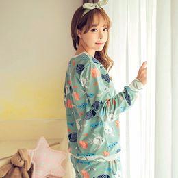 Wholesale Cartoon Pyjamas For Women - Wholesale- HOt Sale 2017 spring the autumn Pyjamas Women Girl nightgrown Sets Cartoon Sleepwear Pajamas for women Long-Sleeved Tracksuit
