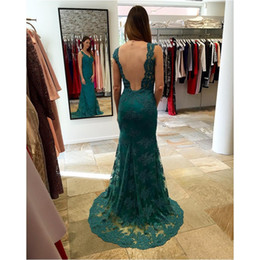 Wholesale Newest Style Evening Gown Dresses - Newest Style Dark Green Mermaid Evening Dresses Long Elegant Lace Appliques V Neck Women Formal Prom Gowns Sheer Back Fast Shipping