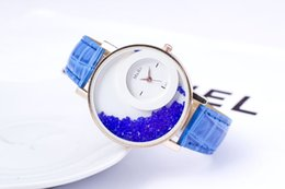 Wholesale Fashion Drift - Luxury Fashion Watches Drifting Sand Ball Multi Color PU Belt Wrist Watch Quartz Charm Leather Strap Elegant Ladies Students