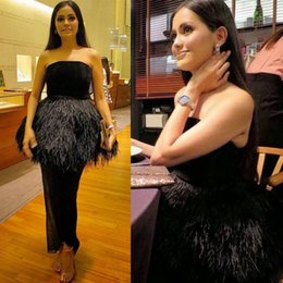 Wholesale Strapless Feather Cocktail Dresses - Black Feather Evening Dresses Sexy Strapless Peplum Prom Dresses Sheath Floor Length Zipper Back Cocktail Formal Party Dress