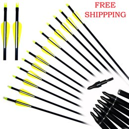 Wholesale Arrow Archery - 12pcs,Screw In Steel Arrows Archery Hunter Fletched Fiberglass Hunting Target Practice for Hunting Compound &Recurve Bow