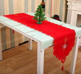 Wholesale Dark Red Table Runners Wedding - XmasTable Runner Sashes Cloth Christmas Santa Bell Cane Candle design Tassel Wedding Party Bed Table Runner Cloth Decoration