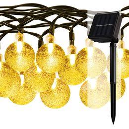 Wholesale Garden Decor Led Light - 30 LED Solar Powered Indoor Outdoor Party Lighting Crystal Ball 20ft Waterproof Warm White Garden Decor