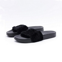 Wholesale Printed Fur - Leadcat Fenty Rihanna Shoes Women Slippers Indoor Sandals Girls Fashion Scuffs Pink Black White Grey Fur Slides Without Box High Quality