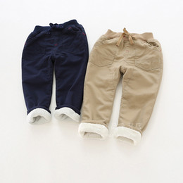 Wholesale Pull Boots - 2017 winter new thread pull rope waist boy cotton plus cashmere casual pants warm cotton trousers