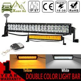 Wholesale 22 Inch Led Driving Lights - XuanBa 22 Inch 120W Cree Led Light Bar Wireless Remote Control Amber+White Work Driving 180W 4x4 Offroad Barr 12V 24V Warning Flash light