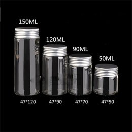 Wholesale Medicine Containers - New product 47mm Glass Bottle with Aluminium Lid Health Care Container Medicine Powder Jar Capsule Bottle Pill Box