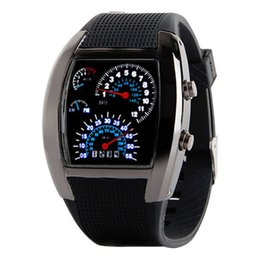 Wholesale Top Led Gifts - Wholesale- 2016 Top Brand Fashion Mens Womens Aviation Turbo Dial Flash LED Watch Gift Sports Car Meter Sporting Styles Clock Reloj Deporte