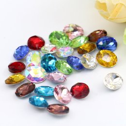 Wholesale Oval Glass Rhinestone - 18x25mm Silver Foiled Gemstone Glass Oval Point Back Fancy Stone Crystal Rhinestone 50pcs bag (10 Different Color Available)