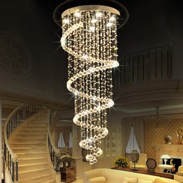 Wholesale Modern Long Chandeliers - Modern led Spiral Lustre Crystal Ceiling Light Fixtures Long Stair Light for Staircase Hotel Foyer Living Room chandeliers Lamp