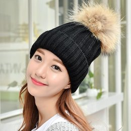 Wholesale White Fur Hats Mink - Mink ball cap fur pom poms warm winter hats for women girls hat knitted beanies cap Solid color knitted hats 7 colors LA333