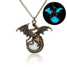 Wholesale Gothic Dragon Jewelry - Vintage Gothic Luminous Dragon Necklace Punk Night Light Pendant Jewelry Gift For Women Men