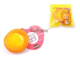 Wholesale Egg Squishy - NEW 5cm soft kawaii rare Squishy Egg tart Cell Phone Charm Bag charm PU
