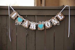 baby shower signs Sconti All'ingrosso-Spedizione gratuita 1 X Handmade I AM ONE 1 ° compleanno Banner Baby Shower Foto Prop Sign Hanging Bunting Garlands