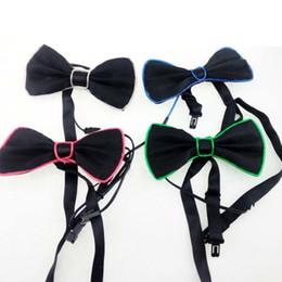 Wholesale Glowing Tie - Fashion Light Mutli Color Light Up LED Bow Tie Glowing EL Wire Bow Tie For DJ Bar Club and Evening Party Decoration