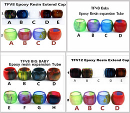 Wholesale Electronic Glass - Colorful Resin Tube Replacement Caps Big Capacity for Electronic Cigarette Glass Smok TFV12 TFV8 Baby Big Baby Tank Atomizer Drip Tip Vape