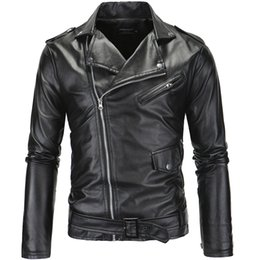 Wholesale Striped Leather Jackets Men - 2017 New Casual Slim Men's Leather Jacket Fashion Mens Zipper Solid Color Turn-down Collar Men Motorcycle Jacket Leather Coats XP09