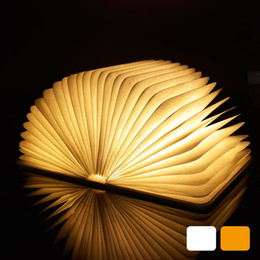 Wholesale Table Lamps Usb Ports - LED Night Light Folding Book Light USB Port Rechargeable Wooden Magnet Cover Home Table Desk Ceiling Decor Lamp