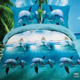 Wholesale Dolphins Bedding - Wholesale- amazing 3d dolphin bedding set queen size 4pcs duvet doona cover bed sheet pillow cases bed linen set