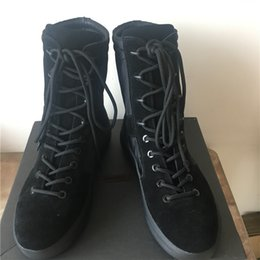 Wholesale Classic Western Boots - Top Quality genuine leather Season 3 military desert Boots real picture top one classic black