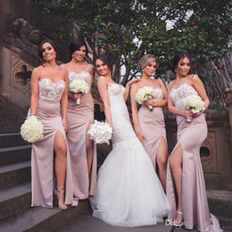 Wholesale Red Strapless Top Satin - Sexy Side Split Mermaid Bridesmaid Dresses 2017 Strapless Sweetheart Lace Top Sexy Low Back Long Maid Of Honor Gowns Wedding Guest Dresses
