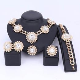 Wholesale Dubai Accessories - Sunflower Shape Jewelry Sets For Women Pendant Necklace Earrings Ring Set Dubai 5 Colors Wedding Brides Costume Accessories