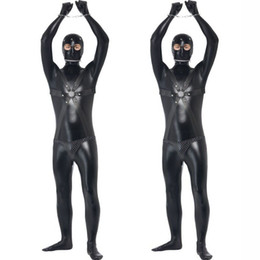 Wholesale Leather Harness Teddy - New Faux Leather Zentai for Tall Men Sexy Gay Catsuit Male Fetish Body Harness Costume Sex Restraint Teddy Sexy Unitard Clothes