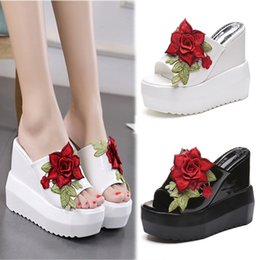 Wholesale Womens White Wedges - Womens Embroidery Floral High Wedge Heel Sandals Platform Slippers Casual Shoes Height 13CM YHU4552