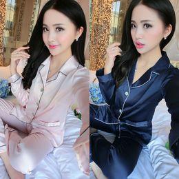 Wholesale Wholesale Women Silk Pajamas - Wholesale- Fashinon Women Men Upscale Homewear Nightshirt Soft Satin Couples Faux Silk Long Sleeve Sleepwear Pajamas Sets