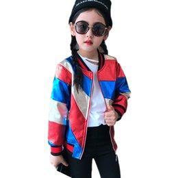 Wholesale Long Winter Jackets For Kids - girls baseball jackets 2017 autumn long sleeve kids jackets for girls color patchwork girls pu leather jackets children outwear QK17N236