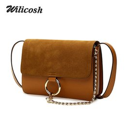 Wholesale Ladies Fashion Cross Ring - Wholesale- 2016 Summer Style Genuine Leather Handbags Chain Ring Shoulder Crossbody Bags For Women Brand Messenger Bag Ladies Clutch DB5230