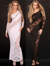 Wholesale Long Sleeve Babydoll Dress Black - Sexy Fashion casual Miss Nightwear Lace Babydoll long Cocktail party maxi Dress 11194