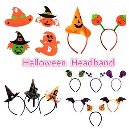 Wholesale Dotted Veil - Festival Halloween Cute Mini Witch Hat Pumpkin Bat Headband Cobweb Dots Veil Cap Easter Fancy Dress Costume Accessory Party Headdress Scary